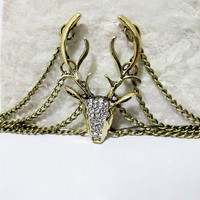 Antique bronze moose stag elk deer antlers chain bracelet with clear crystals