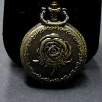 Pocket Watch, Fullmetal, Personalized Quartz Pocket Watch, Inlay Rose,Vintage Style, Gift for Dad