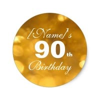 Golden 90th Birthday Sticker