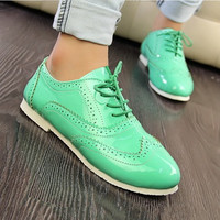 UK Style Lace Up Pointed Flat Shoes