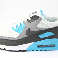 Nike Men's Air Max 90 White/Charcoal/Blue Running Shoes 537384 100