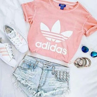 Adidas Originals Women Pink Leisure T-shirt