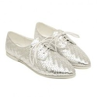 Stylish Women's Flat Shoes With Weaving Veins and Pointed Toe Design