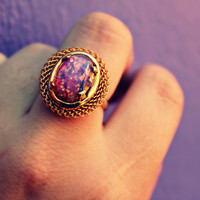 pink fire opal ring, gold ring, unique ring, pink stone ring, girly ring, cute ring