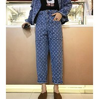LV Louis Vuitton Trending Women Stylish Jacquard Denim Cowboy Pants