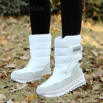 Platform Ankle Boots For Women White Snow boots Hook Loop