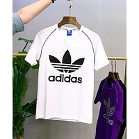 Adidas Summer Popular Women Men Casual Print Short Sleeve T-Shirt Top White