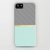 Aqua, Gold and Stripes iPhone & iPod Case by Electric Avenue