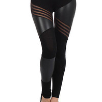 Multiple Directions Faux Leather Cotton Leggings