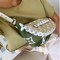 Samplefine2 Louis Vuitton LV Fashion New Monogram Leather Waist Bag Satchel Single Shopping Leisure Shoulder Bag Green