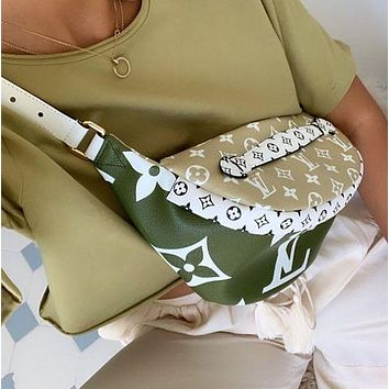 Louis Vuitton LV Fashion New Monogram Leather Waist Bag Satchel Single Shopping Leisure Shoulder Bag Green