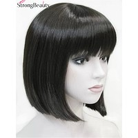 Strong Beauty Women Synthetic Hair Short BOB Wig Straight Blonde Brown Red Wigs For Lady