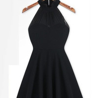 Black Halter Zip-Back A-Line Chiffon Dress