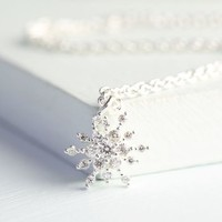 Diamanté Snowflake Necklace
