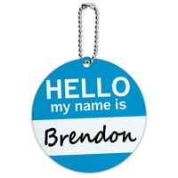 Brendon Hello My Name Is Round ID Card Luggage Tag