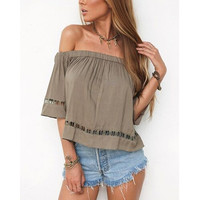 Sexy Off the Shoulder Slash Neck Women Clothing Summer Fashion Half Sleeve Hollow Out Strapless Tops Natural Color