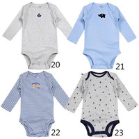 Baby Long Sleeve Bodysuits Fashion Infant Spring and Summer Cotton and Comfortable Bodysuit Hot Kids Elastic and Breathable Baby Clothes