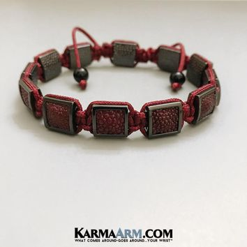 FlatBead Collection: Red Stingray Leather | Gunmetal | Red Cord Flat Bead Bracelet