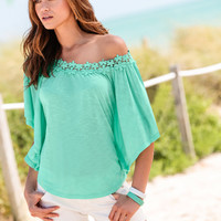Solid Lace Trim Loose Shirt
