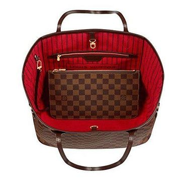 Louis Vuitton Trending Fashion Casual Damier Canvas Neverfull MM Red Shoulder Handbag Article: N41358 Made in France G