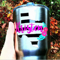 State shape decal, Boho decal, Black white stripe, Name decal, Monogram decal, Vinyl Sticker, Decal for Cup, Christmas Gift, gift for her