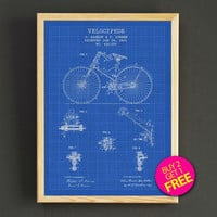 Velocipede Bicycle Patent Print Bike Seat Blueprint Poster House Wear Wall Art Decor Gift Linen Print - Buy 2 Get FREE - 297s2g