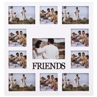 "Adeco [PF0342]Decorative White Wood ""Friends"" Wall Hanging Collage Picture Photo Frame"
