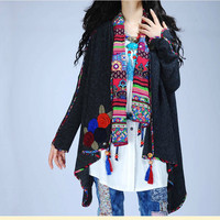 Mexican style ethnic cardigan Vintage 70s long sleeve v neck flowers appliques asymmetrical coat brand jacket outwear knitwear