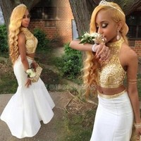 2016 Shinning Gold Two Piece Prom Dresses Halter Beaded Rhinestones Mermaid African Prom Dress Unique Prom Party Gowns New RT08
