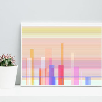 Abstract Art Cityscape cityScape_9y, Limited Edition Giclee 10x8, Paul Klee inspired geeky wall art.
