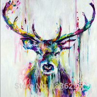 Best Selling Handmade Items Colorful Abstract Paintings Animals Oil Painting Deer Oil Paintings Wall decor Wallpapers Home Decor