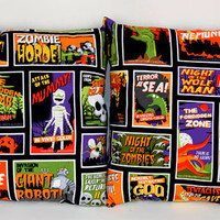 15.5x16 Classic Horror Movie Posters & Skeleton Hands Pillow Set - Sabbie's Purses and More
