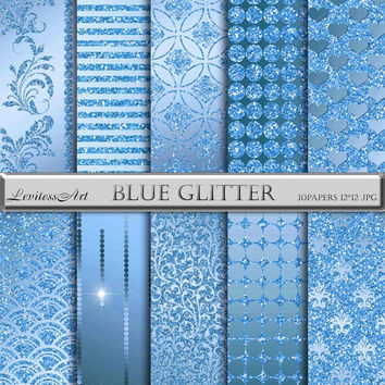 """Blue and glitter digital Paper """"Blue glitter"""" digital background for scrapbooking, invites, cards,web design,jewelry making.Instant Download"""