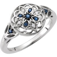 Sterling Silver Genuine Blue Sapphire & Diamond Floral Filigree Ring