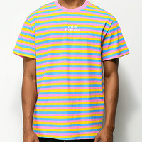 Odd Future OF Pink, Blue & Yellow Striped T-Shirt | Zumiez
