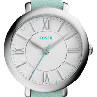 Fossil 'Jacqueline' Leather Strap Watch, 26mm