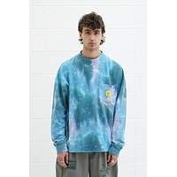 Dyed Pique Mock Neck Longsleeve in Blue/Multi