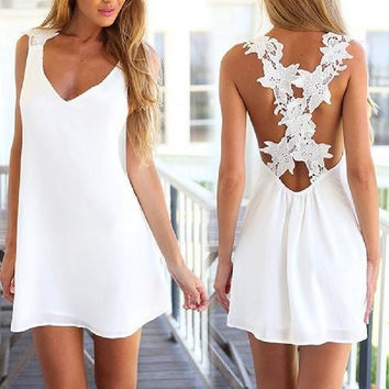 Women's Hot Sale Sexy White Halter Backless Strappy Mini Dress Cocktail Party (Size: One Size) [8400795783]