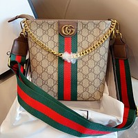 GUCCI New Fashion Letter Print Stripe Stitching Chain Diagonal Crossbody Bag