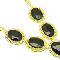 NECKLACE / CRYSTAL STONE / LINK / METAL / 1 1/2 INCH DROP / 18 INCH LONG / NICKEL AND LEAD COMPLIANT