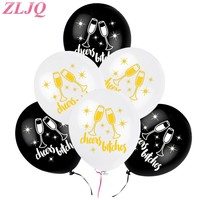 "ZLJQ 10pcs Bachelorette Party Decorations White Black ""Cheers Bitches"" Latex Ballons for Wedding Bride Hen Party Favors Supplies"