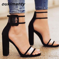 Women Sandals Platform Gladiator High Heels Clear Buckle Strap Spring Summer Sexy Shoes Woman Casual Fashion Black #Y0606782Q
