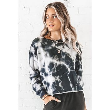Look At Her Now Gray Tie Dye Pullover