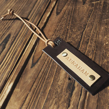 Personalized Leather Luggage Tag #Dark Brown