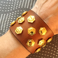 Womens leather bracelet, womens studded leather cuff with large gold hexagon studs.