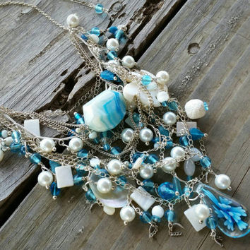 ice queen's hoard // blue and white statement necklace // R180