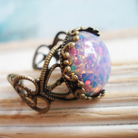 Vintage beautiful smooth round fire opal by zipluxe