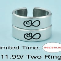 SALE : Infinity Heart Symbol - Hand Stamped Aluminum Cuff Ring Set, Simple Symbol Rings, Love Infinity Rings