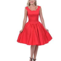 Unique Vintage Roman Holiday Red Scalloped Swing Dress - Unique Vintage - Prom dresses, retro dresses, retro swimsuits.