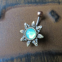 Mint Green Opal Starburst Belly Button Ring Navel Piercing Emerald Bronze Sun Stud Bar Barbell Star Burst